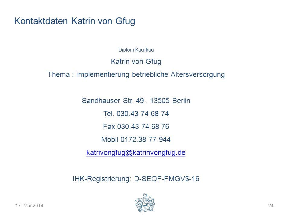 17. Mai 201424 Kontaktdaten Katrin von Gfug Diplom Kauffrau Katrin von Gfug Thema : Implementierung betriebliche Altersversorgung Sandhauser Str. 49.