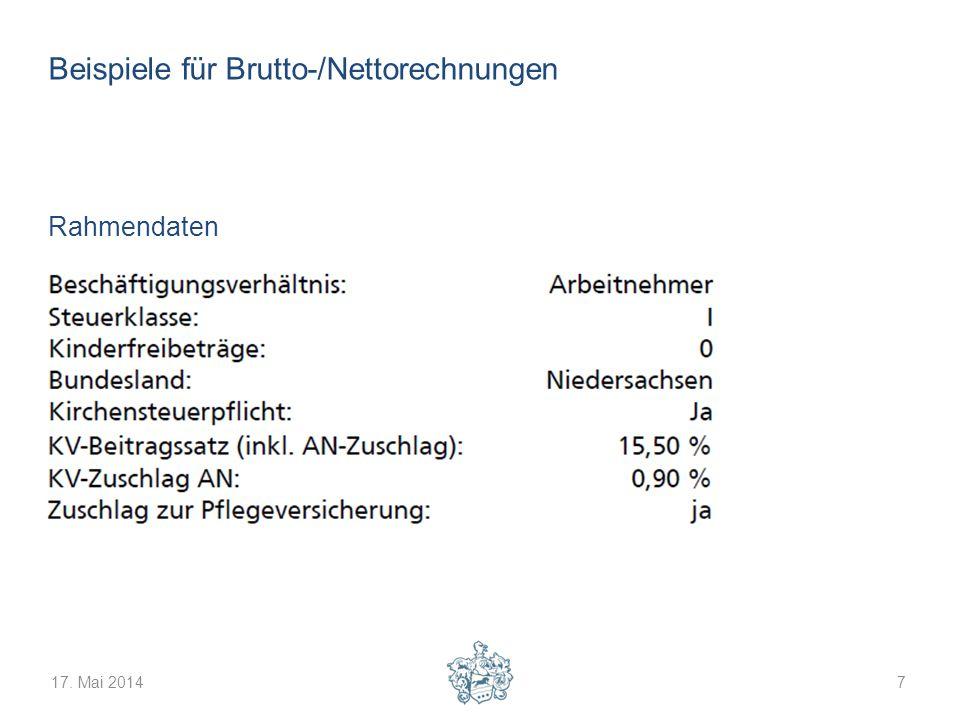 17. Mai 20147 Beispiele für Brutto-/Nettorechnungen Rahmendaten
