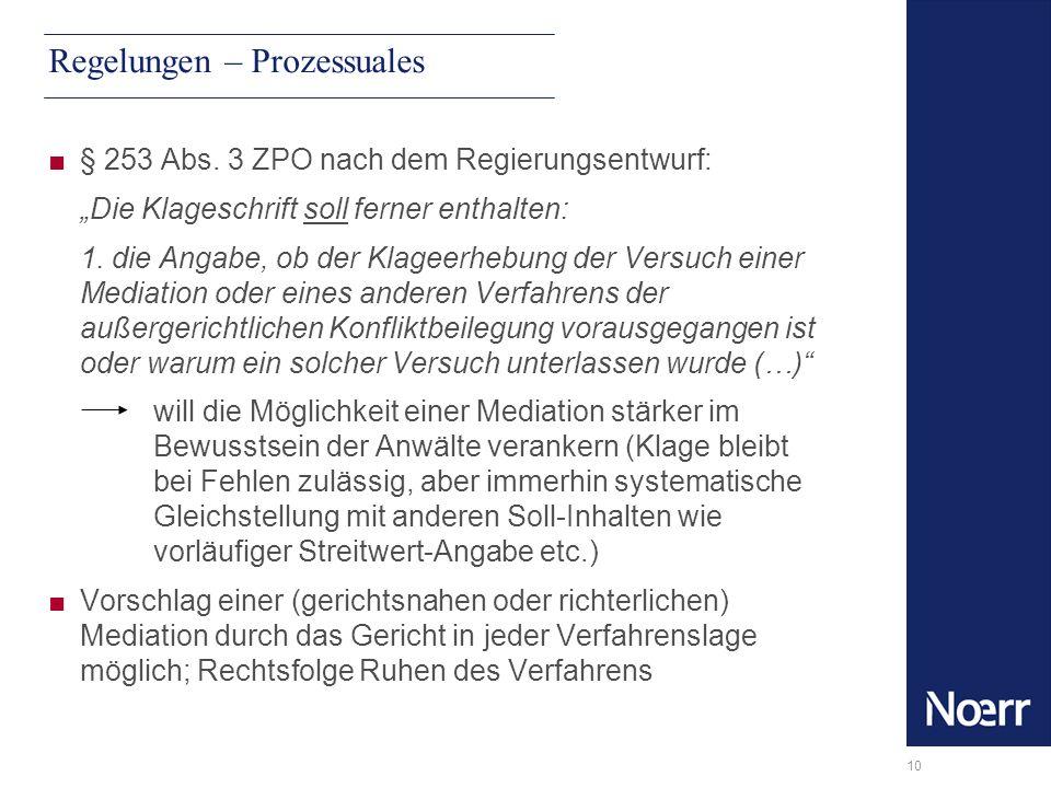 10 Regelungen – Prozessuales § 253 Abs. 3 ZPO nach dem Regierungsentwurf: Die Klageschrift soll ferner enthalten: 1. die Angabe, ob der Klageerhebung