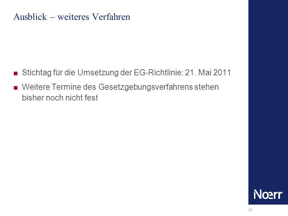 20 Ausblick – weiteres Verfahren Stichtag für die Umsetzung der EG-Richtlinie: 21. Mai 2011 Weitere Termine des Gesetzgebungsverfahrens stehen bisher