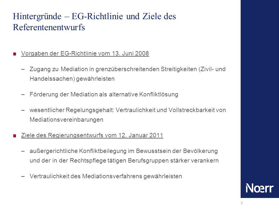 3 Hintergründe – EG-Richtlinie und Ziele des Referentenentwurfs Vorgaben der EG-Richtlinie vom 13. Juni 2008 –Zugang zu Mediation in grenzüberschreite