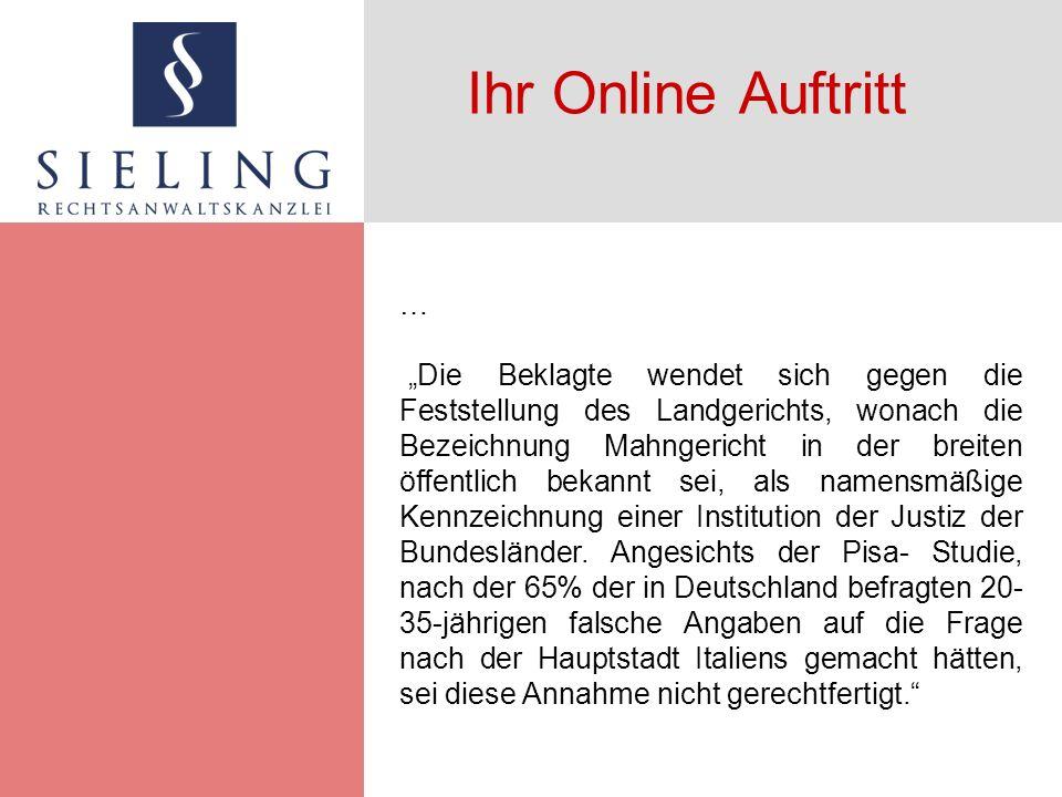 Ihr Online Auftritt Markenrecht Fremde Marken und Kennzeichen sind auch versteckt im Quelltext unzulässig.
