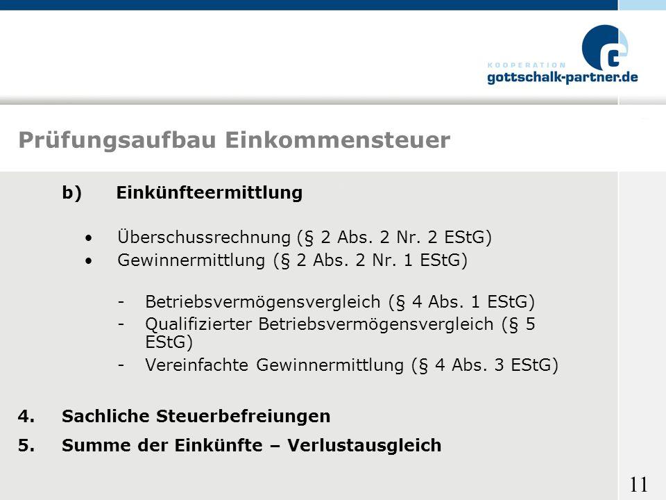 11 Prüfungsaufbau Einkommensteuer b) Einkünfteermittlung Überschussrechnung (§ 2 Abs. 2 Nr. 2 EStG) Gewinnermittlung (§ 2 Abs. 2 Nr. 1 EStG) -Betriebs