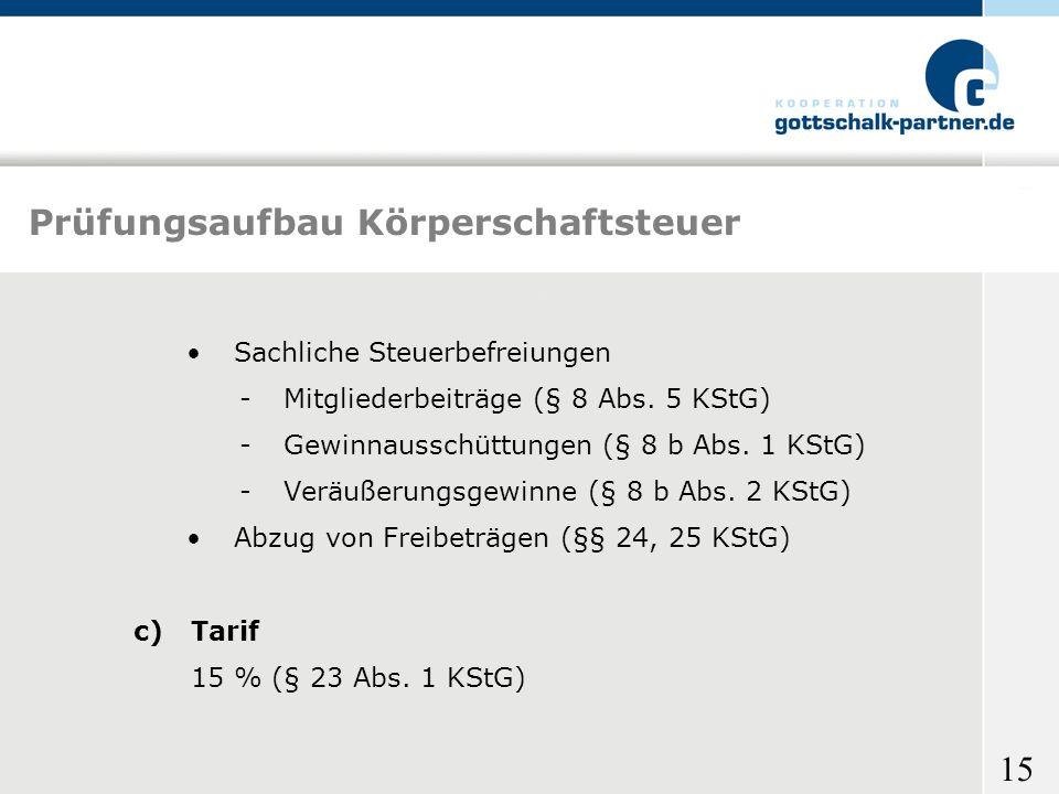 15 Prüfungsaufbau Körperschaftsteuer Sachliche Steuerbefreiungen -Mitgliederbeiträge (§ 8 Abs. 5 KStG) -Gewinnausschüttungen (§ 8 b Abs. 1 KStG) -Verä