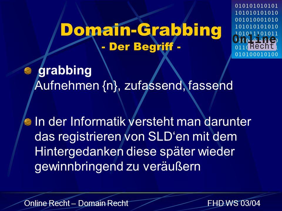 Online Recht – Domain RechtFHD WS 03/04 Domain-Grabbing - Der Begriff - grabbing Aufnehmen {n}, zufassend, fassend In der Informatik versteht man daru