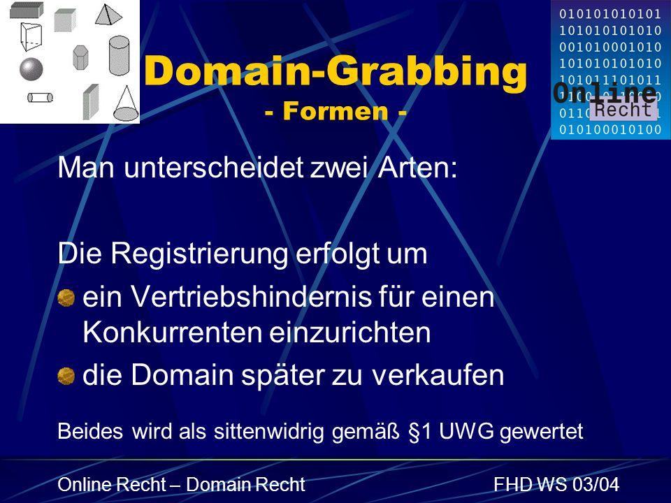 Online Recht – Domain RechtFHD WS 03/04 Domain-Grabbing - Formen - Man unterscheidet zwei Arten: Die Registrierung erfolgt um ein Vertriebshindernis f