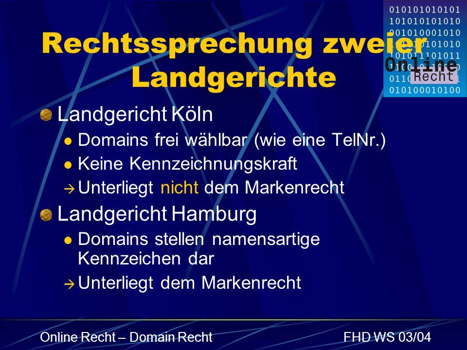 Online Recht – Domain RechtFHD WS 03/04 Rechtssprechung zweier Landgerichte Landgericht Köln Domains frei wählbar (wie eine TelNr.) Keine Kennzeichnun