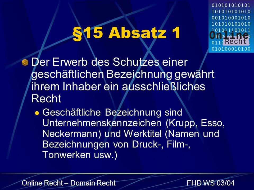 Online Recht – Domain RechtFHD WS 03/04 §15 Absatz 2 Dritten ist es untersagt die Bezeichnung oder ähnliche Zeichen unbefugt zu nutzen, wenn Verwechslungsgefahr besteht Bsp.