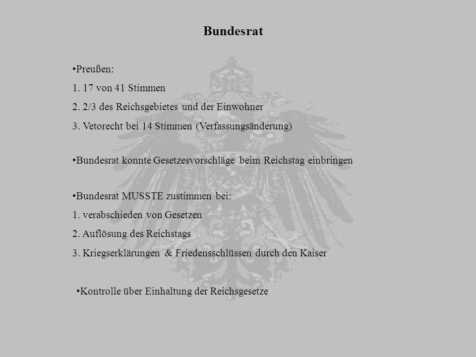 Reichstag wurde durch allgemeines und gleiches Wahlrecht gewählt Bismarck wollte dadurch die Liberalen für das neue Reich gewinnen alleiniges Recht zur Bewilligung des Staatshaushalts (jährlich vorgelegt) Militärausgaben ausgenommen (machten 4/5 aus) Legislaturperiode: drei Jahre, ab 1888 fünf Jahre Wahlberechtigung aller Männer ab 25 gleiches, direktes, geheimes Mehrheitswahlrecht