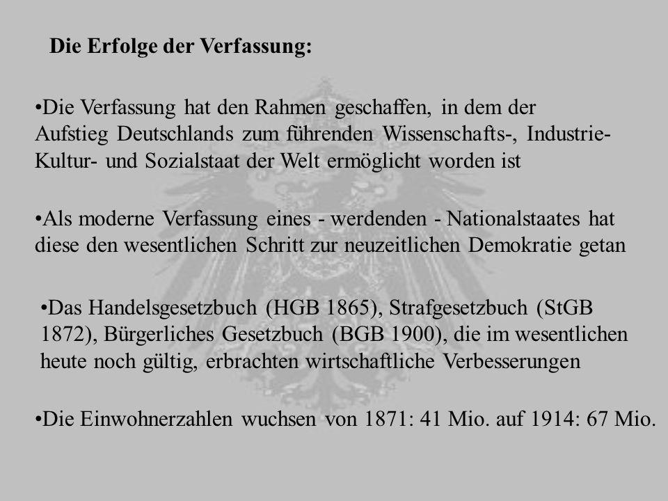 Die Erfolge der Verfassung: Die Verfassung hat den Rahmen geschaffen, in dem der Aufstieg Deutschlands zum führenden Wissenschafts-, Industrie- Kultur