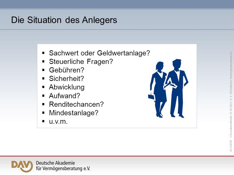 AG 528 B1 2 Investmentfonds 31.03.2012 S. 4 © Deutsche Vermögensberatung AG Sachwert oder Geldwertanlage? Steuerliche Fragen? Gebühren? Sicherheit? Ab