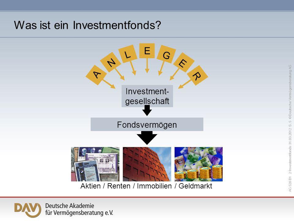 AG 528 B1 2 Investmentfonds 31.03.2012 S. 5 © Deutsche Vermögensberatung AG Aktien / Renten / Immobilien / Geldmarkt Fondsvermögen A N L E E G R Inves