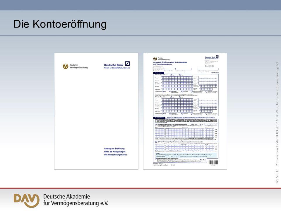 AG 528 B1 2 Investmentfonds 31.03.2012 S. 9 © Deutsche Vermögensberatung AG Die Kontoeröffnung