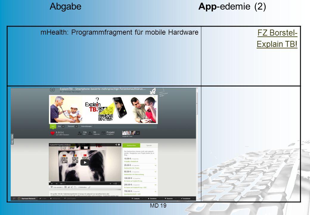 MD 19 mHealth: Programmfragment für mobile Hardware FZ Borstel- Explain TB! Abgabe App-edemie (2)