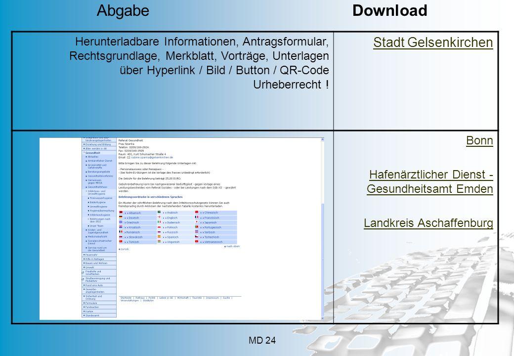MD 24 Herunterladbare Informationen, Antragsformular, Rechtsgrundlage, Merkblatt, Vorträge, Unterlagen über Hyperlink / Bild / Button / QR-Code Urhebe