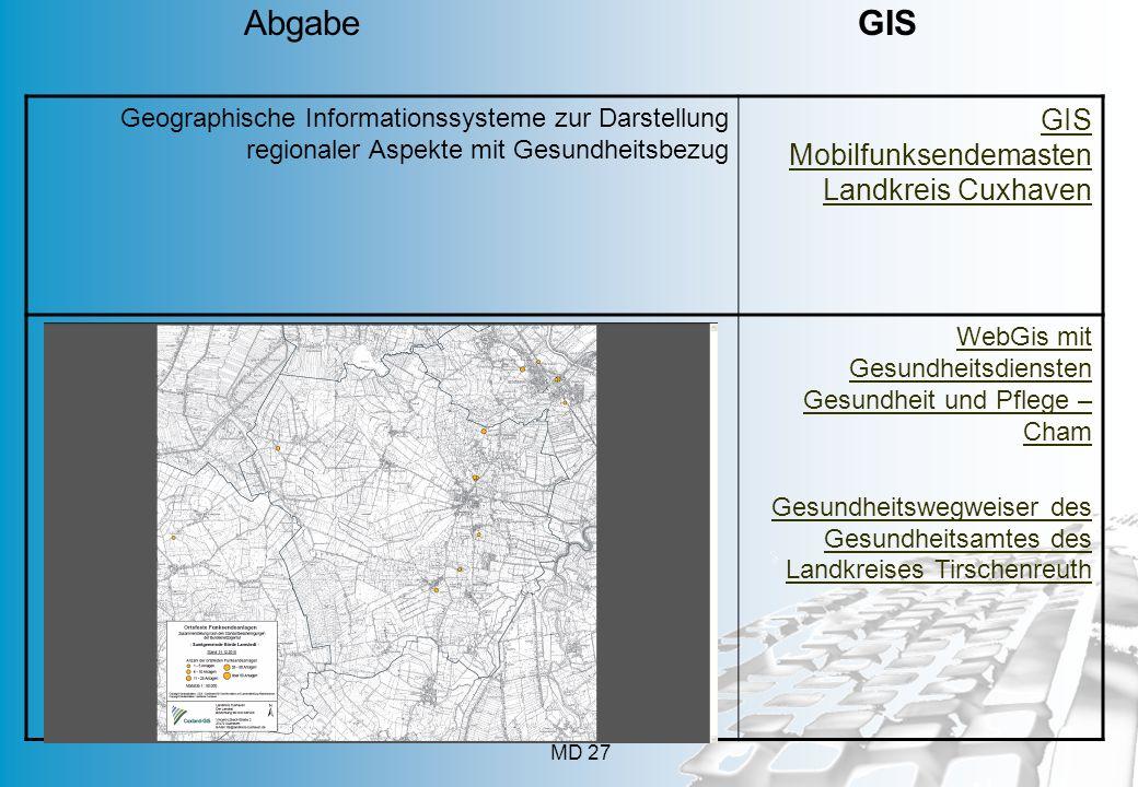 MD 27 Geographische Informationssysteme zur Darstellung regionaler Aspekte mit Gesundheitsbezug GIS Mobilfunksendemasten Landkreis Cuxhaven WebGis mit