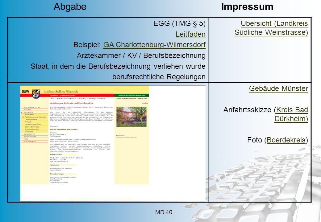 MD 40 EGG (TMG § 5) Leitfaden Beispiel: GA Charlottenburg-WilmersdorfGA Charlottenburg-Wilmersdorf Ärztekammer / KV / Berufsbezeichnung Staat, in dem