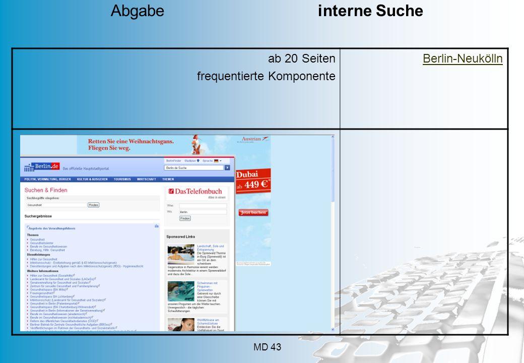 MD 43 ab 20 Seiten frequentierte Komponente Berlin-Neukölln Abgabe interne Suche