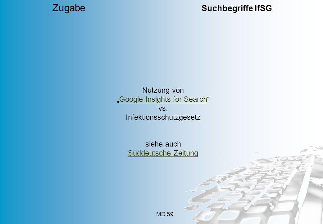 MD 59 Nutzung von Google Insights for Search vs. Infektionsschutzgesetz siehe auch Süddeutsche Zeitung Zugabe Suchbegriffe IfSG