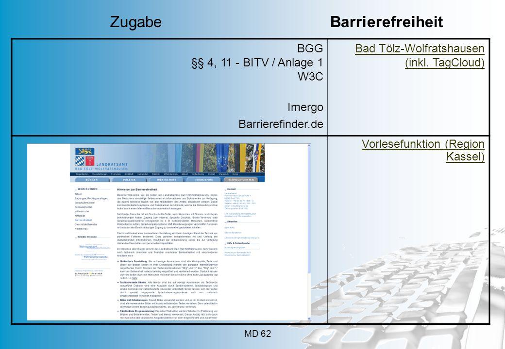 MD 62 BGG §§ 4, 11 - BITV / Anlage 1 W3C Imergo Barrierefinder.de Bad Tölz-Wolfratshausen (inkl. TagCloud) Vorlesefunktion (Region Kassel) Zugabe Barr