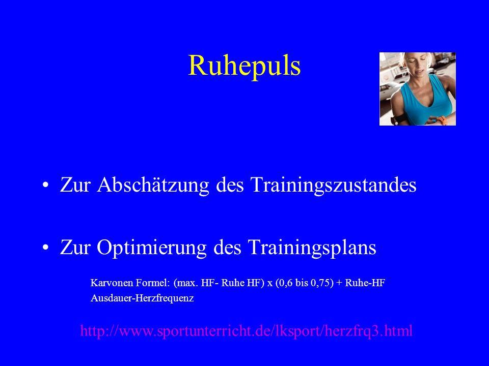 Ruhepuls Zur Abschätzung des Trainingszustandes Zur Optimierung des Trainingsplans Karvonen Formel: (max. HF- Ruhe HF) x (0,6 bis 0,75) + Ruhe-HF Ausd