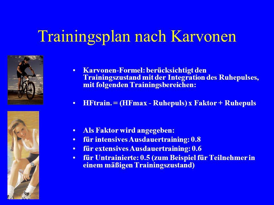 Trainingsplan nach Karvonen Karvonen-Formel: berücksichtigt den Trainingszustand mit der Integration des Ruhepulses, mit folgenden Trainingsbereichen: