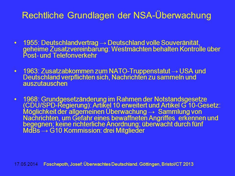 Rechtliche Grundlagen der NSA-Überwachung 1955: Deutschlandvertrag Deutschland volle Souveränität, geheime Zusatzvereinbarung: Westmächten behalten Ko