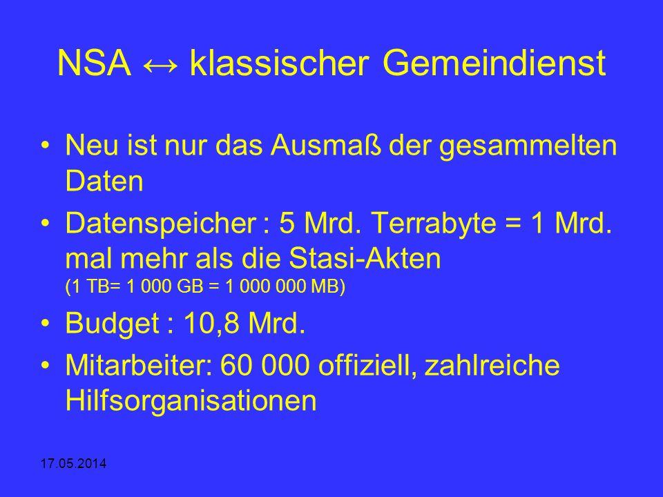 17.05.2014 NSA klassischer Gemeindienst Neu ist nur das Ausmaß der gesammelten Daten Datenspeicher : 5 Mrd. Terrabyte = 1 Mrd. mal mehr als die Stasi-