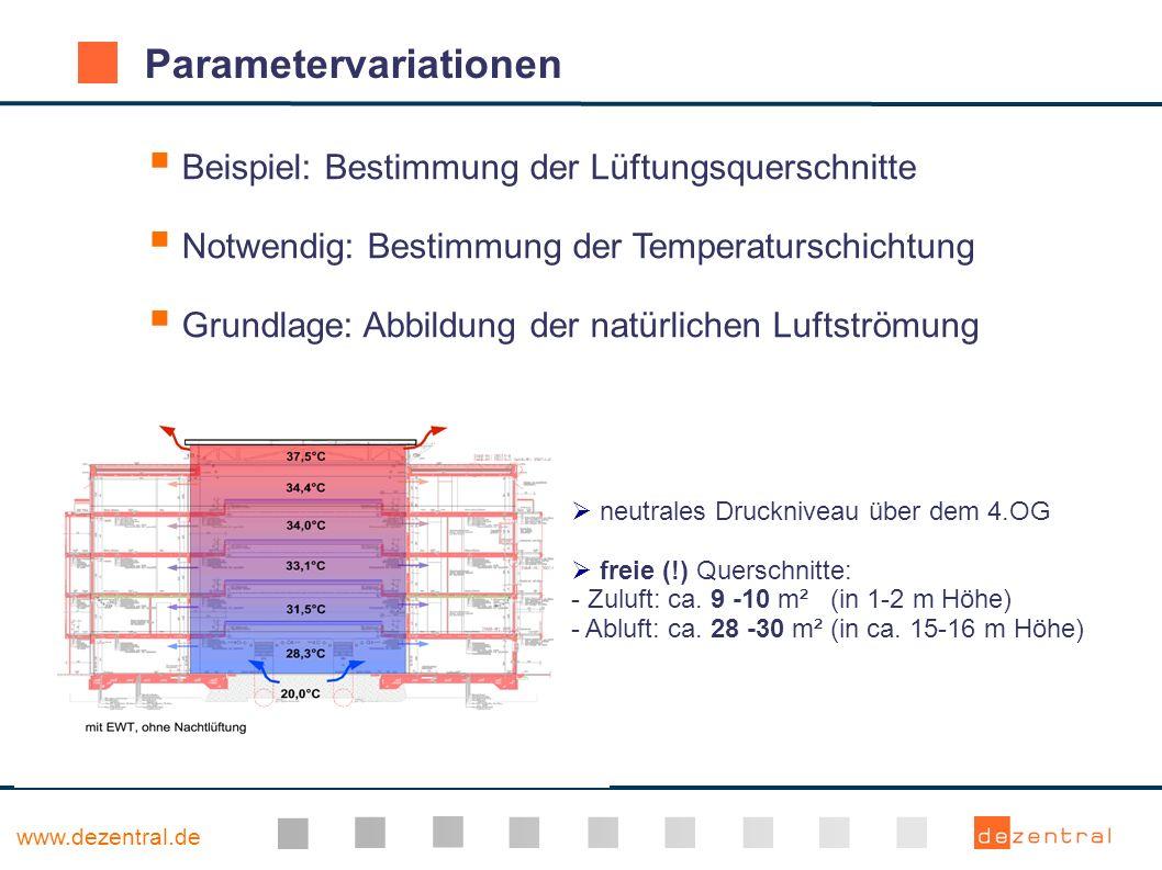 www.dezentral.de Parametervariationen Beispiel: Bestimmung der Lüftungsquerschnitte Notwendig: Bestimmung der Temperaturschichtung Grundlage: Abbildun