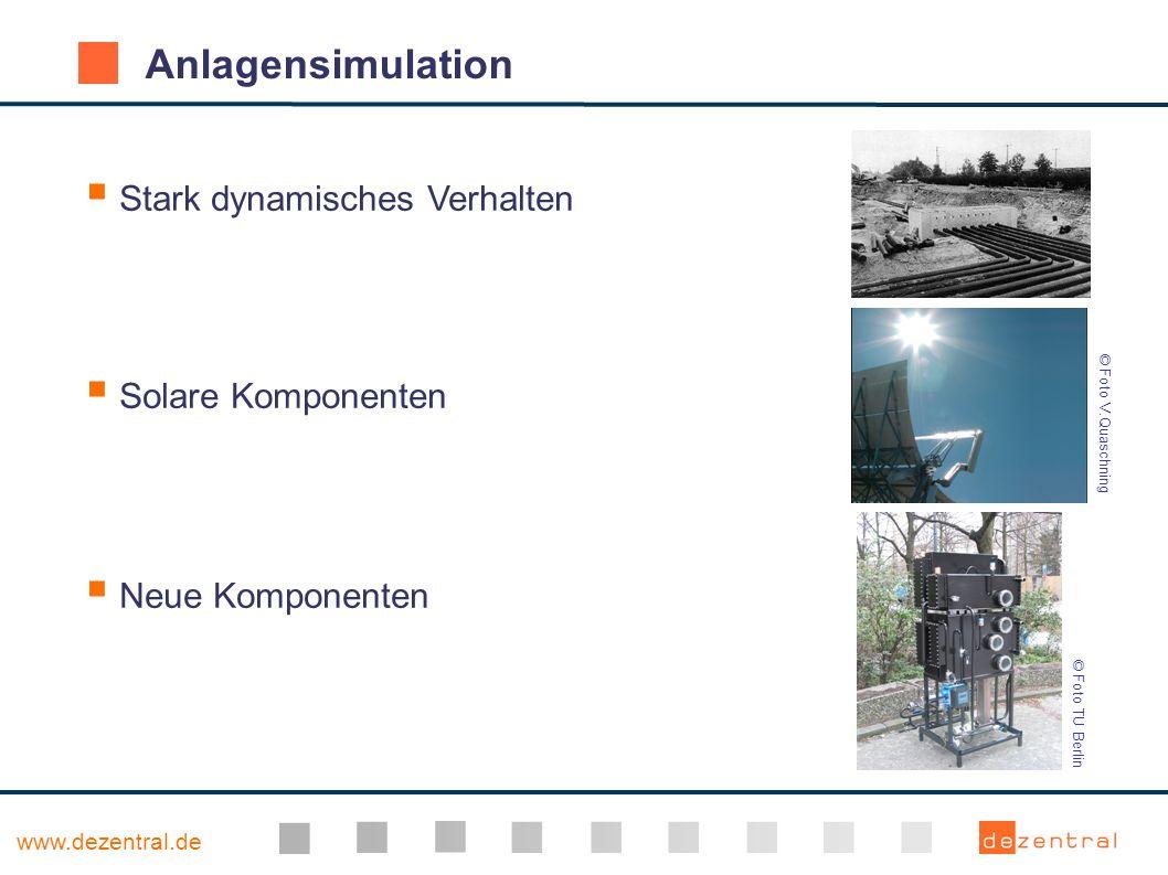 www.dezentral.de Anlagensimulation Stark dynamisches Verhalten Solare Komponenten Neue Komponenten © Foto TU Berlin © Foto V.Quaschning