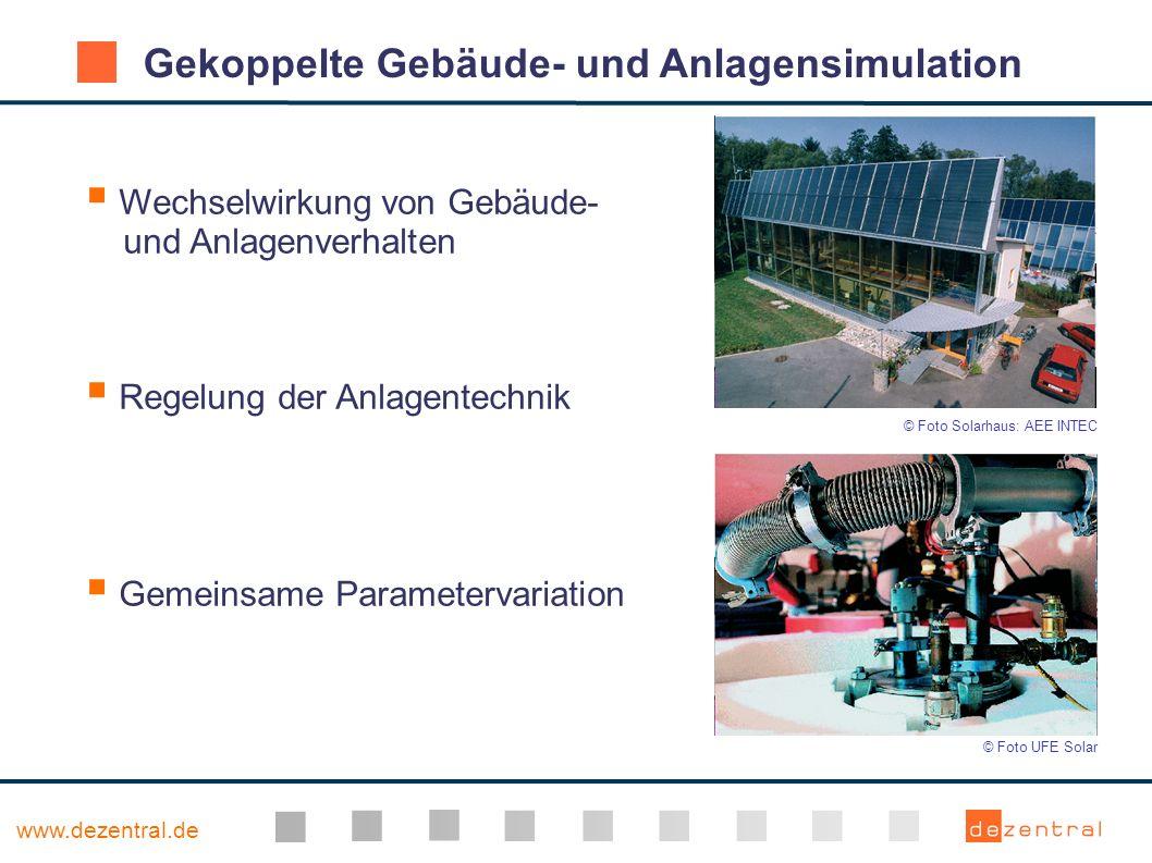 www.dezentral.de Gekoppelte Gebäude- und Anlagensimulation Wechselwirkung von Gebäude- und Anlagenverhalten Regelung der Anlagentechnik Gemeinsame Par