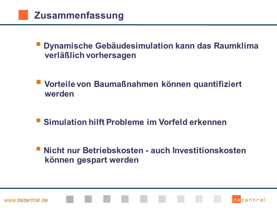 www.dezentral.de Zusammenfassung Dynamische Gebäudesimulation kann das Raumklima verläßlich vorhersagen Vorteile von Baumaßnahmen können quantifiziert