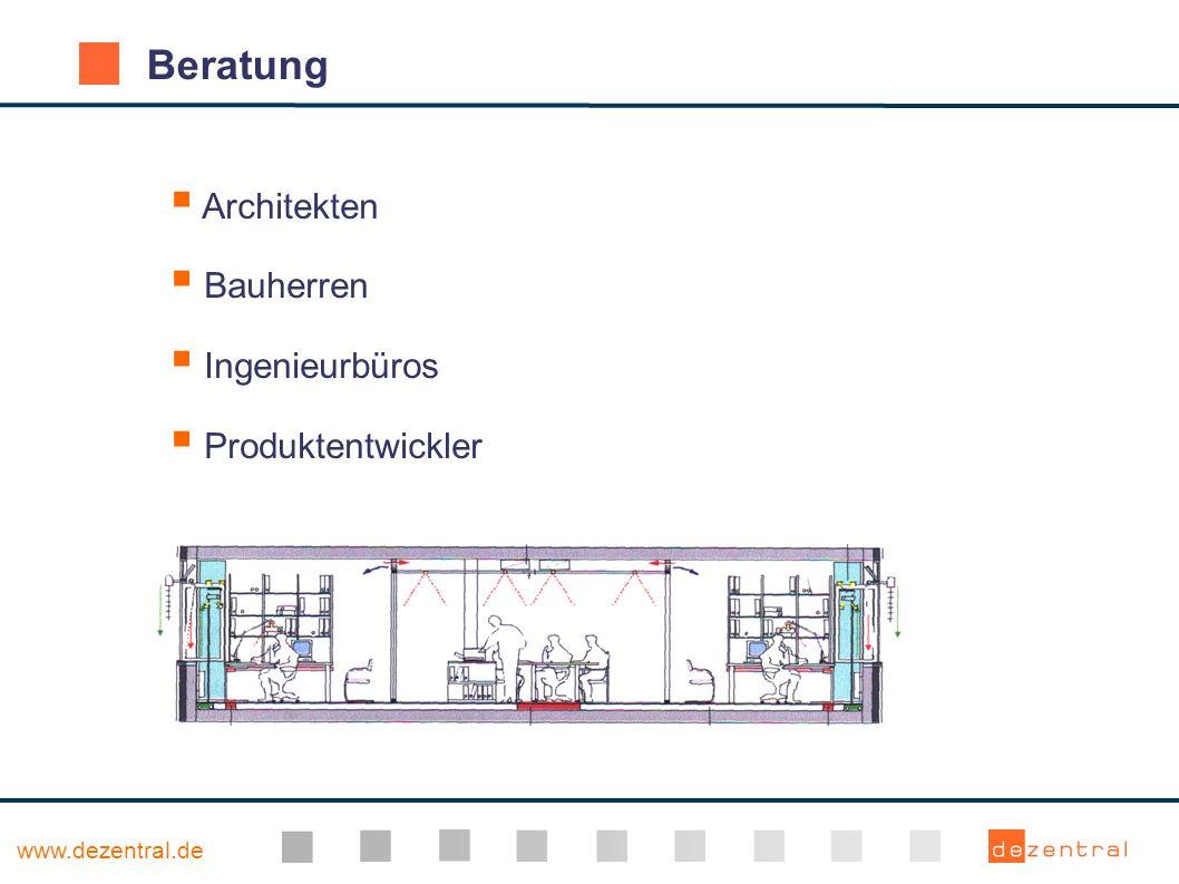 www.dezentral.de Kooperation mit der TU München ( Geometrieimport aus CAAD via IFC, Kopplung von thermischer Gebäudesimulation und CFD ) Software-Entwicklung Kooperation mit der FH Biberach ( Visualisierung von thermischer Gebäudesimulation )