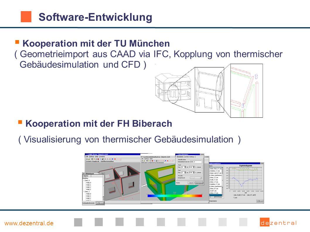 www.dezentral.de Kooperation mit der TU München ( Geometrieimport aus CAAD via IFC, Kopplung von thermischer Gebäudesimulation und CFD ) Software-Entw