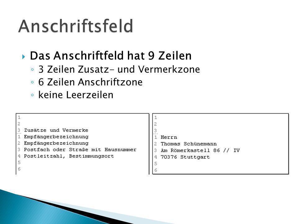 Kopfbogen Adresse + Datum Betreff Anrede Textkörper Grußformel Unterschrift Anlagen PS