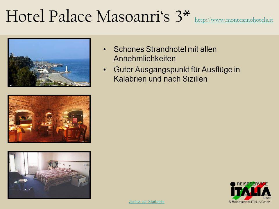 Schönes Strandhotel mit allen Annehmlichkeiten Guter Ausgangspunkt für Ausflüge in Kalabrien und nach Sizilien Hotel Palace Masoanris 3* http://www.mo