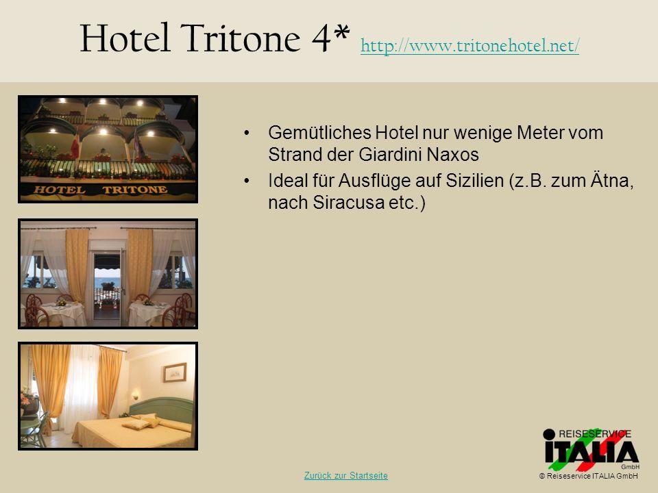 Gemütliches Hotel nur wenige Meter vom Strand der Giardini Naxos Ideal für Ausflüge auf Sizilien (z.B. zum Ätna, nach Siracusa etc.) Hotel Tritone 4*