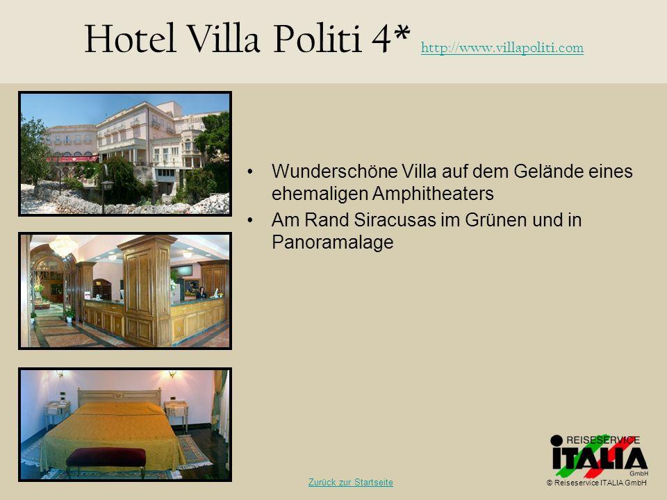Wunderschöne Villa auf dem Gelände eines ehemaligen Amphitheaters Am Rand Siracusas im Grünen und in Panoramalage Hotel Villa Politi 4* http://www.vil