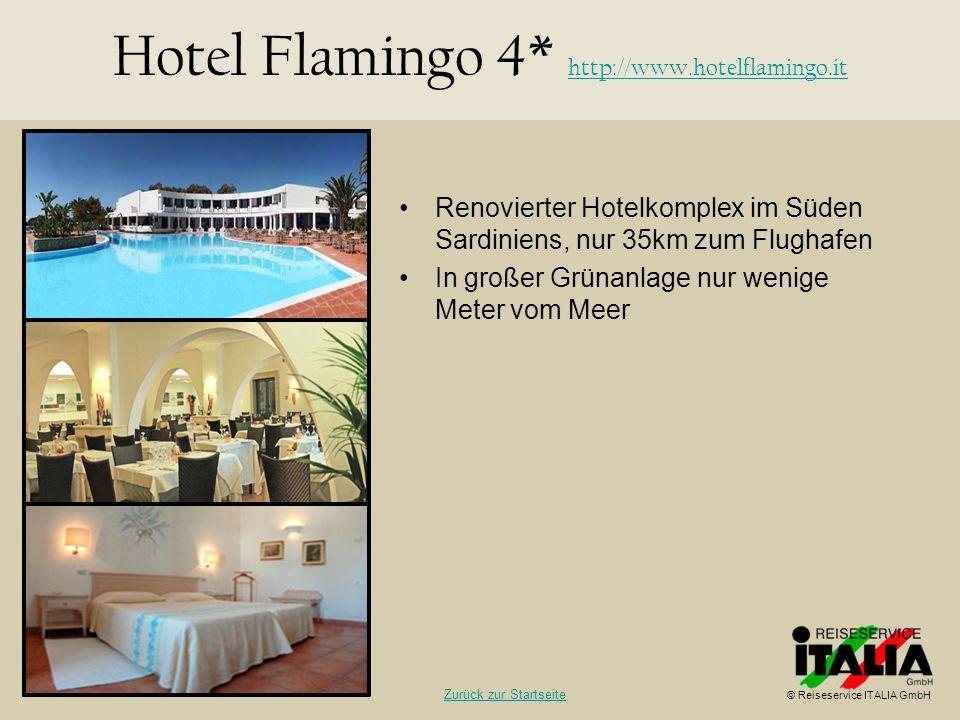 Renovierter Hotelkomplex im Süden Sardiniens, nur 35km zum Flughafen In großer Grünanlage nur wenige Meter vom Meer Hotel Flamingo 4* http://www.hotel