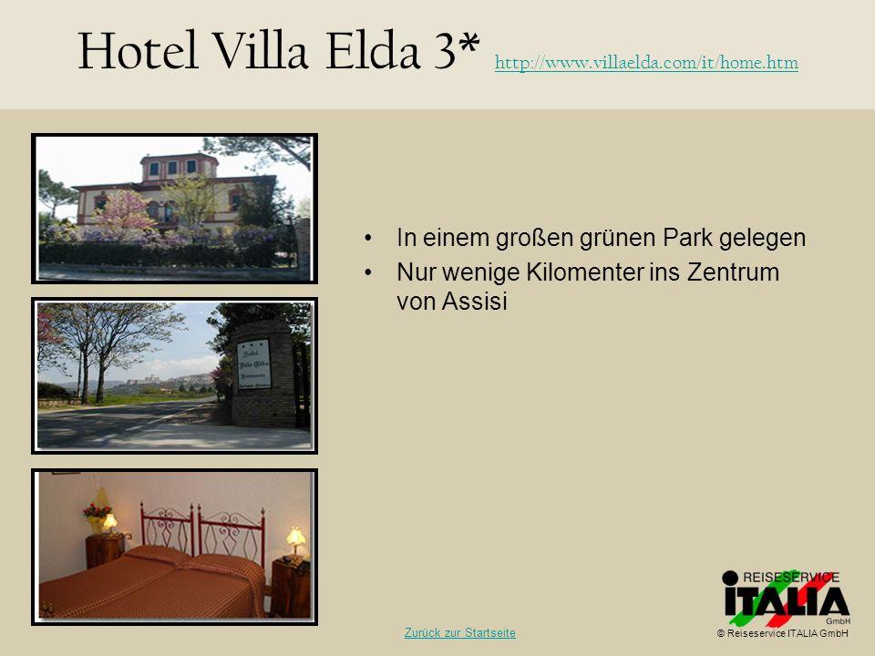 In einem großen grünen Park gelegen Nur wenige Kilomenter ins Zentrum von Assisi Hotel Villa Elda 3* http://www.villaelda.com/it/home.htm http://www.v