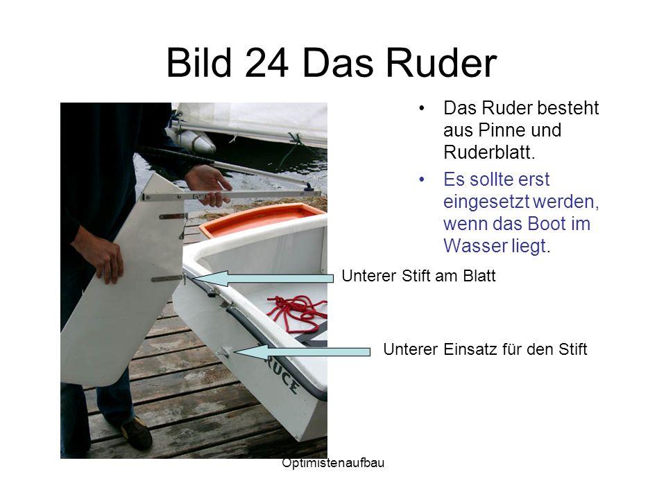Optimistenaufbau Bild 24 Das Ruder Das Ruder besteht aus Pinne und Ruderblatt. Es sollte erst eingesetzt werden, wenn das Boot im Wasser liegt. Untere