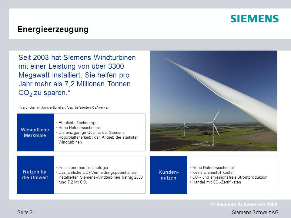 Siemens Schweiz AG © Siemens Schweiz AG 2009 Seite 21 Energieerzeugung Etablierte Technologie Hohe Betriebssicherheit Die einzigartige Qualität der Siemens Rotorblätter erlaubt den Antrieb der stärksten Windturbinen Emissionsfreie Technologie Das jährliche CO 2 -Vermeidungspotential der installierten Siemens-Windturbinen betrug 2003 rund 7,2 Mt CO 2 Wesentliche Merkmale Nutzen für die Umwelt Seit 2003 hat Siemens Windturbinen mit einer Leistung von über 3300 Megawatt installiert.
