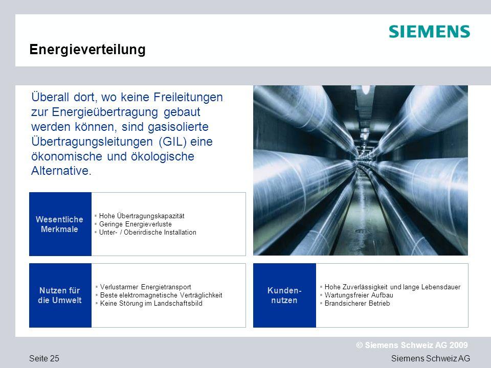 Siemens Schweiz AG © Siemens Schweiz AG 2009 Seite 25 Energieverteilung Hohe Übertragungskapazität Geringe Energieverluste Unter- / Oberirdische Insta