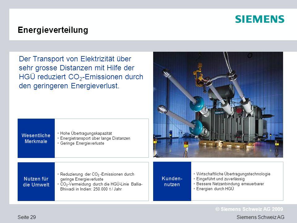 Siemens Schweiz AG © Siemens Schweiz AG 2009 Seite 29 Hohe Übertragungskapazität Energietransport über lange Distanzen Geringe Energieverluste Reduzierung der CO 2 -Emissionen durch geringe Energieverluste CO 2 -Vermeidung durch die HGÜ-Linie Ballia- Bhiwadi in Indien: 250.000 t / Jahr Wesentliche Merkmale Der Transport von Elektrizität über sehr grosse Distanzen mit Hilfe der HGÜ reduziert CO 2 -Emissionen durch den geringeren Energieverlust.