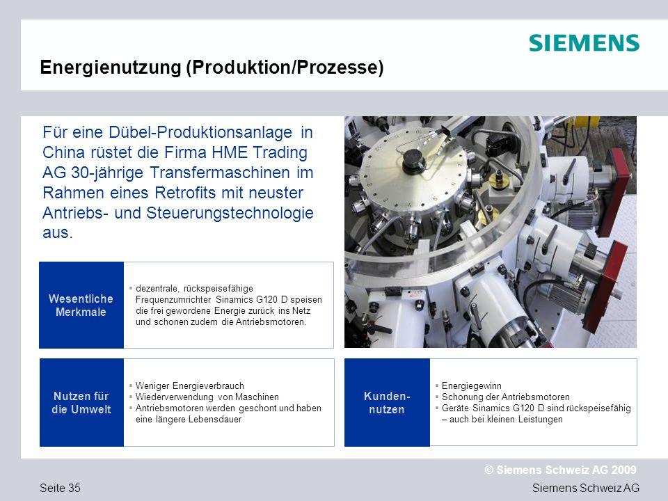 Siemens Schweiz AG © Siemens Schweiz AG 2009 Seite 35 Energienutzung (Produktion/Prozesse) dezentrale, rückspeisefähige Frequenzumrichter Sinamics G120 D speisen die frei gewordene Energie zurück ins Netz und schonen zudem die Antriebsmotoren.