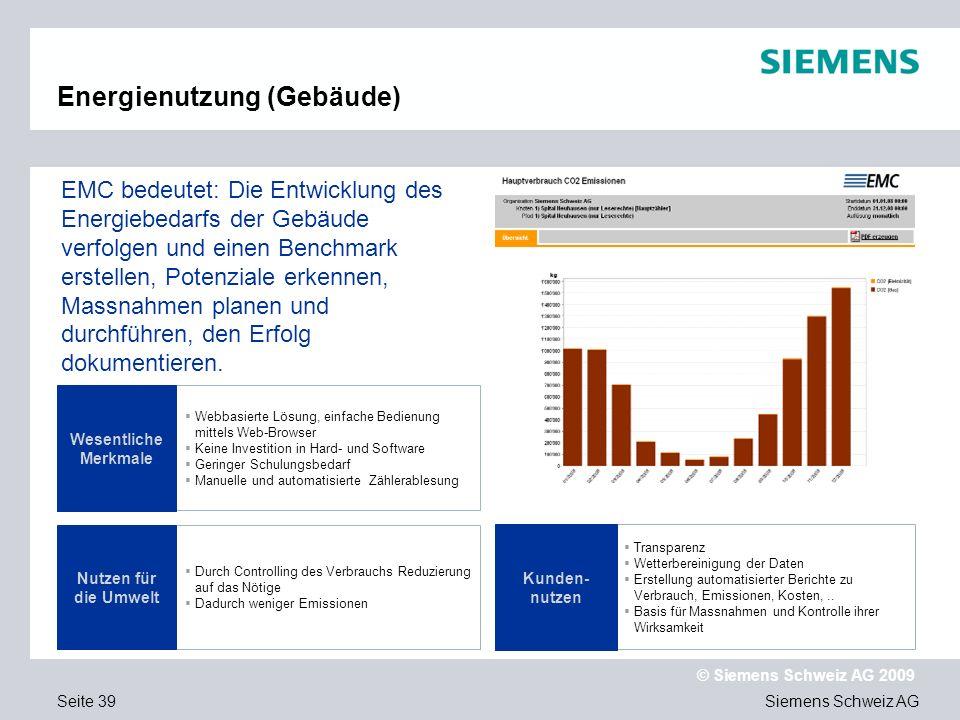 Siemens Schweiz AG © Siemens Schweiz AG 2009 Seite 39 Webbasierte Lösung, einfache Bedienung mittels Web-Browser Keine Investition in Hard- und Software Geringer Schulungsbedarf Manuelle und automatisierte Zählerablesung Durch Controlling des Verbrauchs Reduzierung auf das Nötige Dadurch weniger Emissionen Wesentliche Merkmale Nutzen für die Umwelt EMC bedeutet: Die Entwicklung des Energiebedarfs der Gebäude verfolgen und einen Benchmark erstellen, Potenziale erkennen, Massnahmen planen und durchführen, den Erfolg dokumentieren.