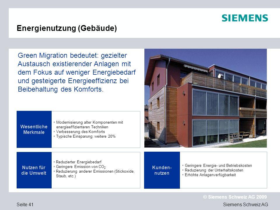 Siemens Schweiz AG © Siemens Schweiz AG 2009 Seite 41 Modernisierung alter Komponenten mit energieeffizienteren Techniken Verbesserung des Komforts Typische Einsparung: weitere 20% Wesentliche Merkmale Green Migration bedeutet: gezielter Austausch existierender Anlagen mit dem Fokus auf weniger Energiebedarf und gesteigerte Energieeffizienz bei Beibehaltung des Komforts.