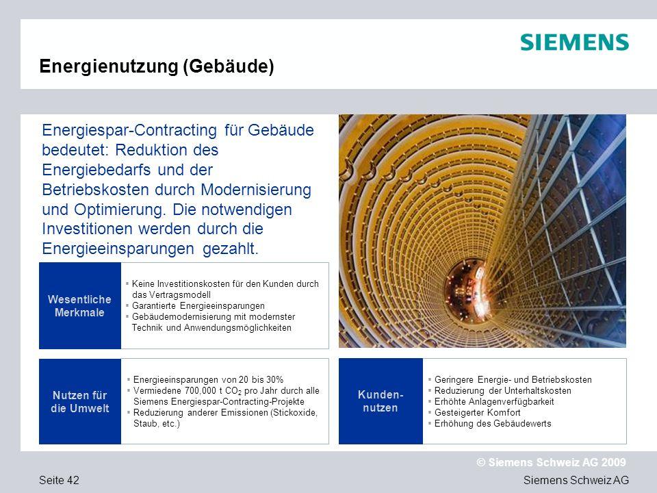 Siemens Schweiz AG © Siemens Schweiz AG 2009 Seite 42 Keine Investitionskosten für den Kunden durch das Vertragsmodell Garantierte Energieeinsparungen Gebäudemodernisierung mit modernster Technik und Anwendungsmöglichkeiten Energieeinsparungen von 20 bis 30% Vermiedene 700,000 t CO 2 pro Jahr durch alle Siemens Energiespar-Contracting-Projekte Reduzierung anderer Emissionen (Stickoxide, Staub, etc.) Wesentliche Merkmale Energiespar-Contracting für Gebäude bedeutet: Reduktion des Energiebedarfs und der Betriebskosten durch Modernisierung und Optimierung.