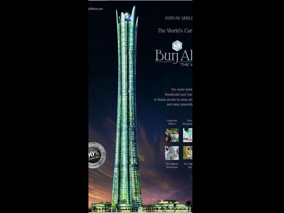 Burj al Alam (The World Tower) Bei seiner Fertigstellung wird es das höchste Hotelgebäude der Welt sein. Mit seinen 480 Metern wird es nur 28 Meter kl