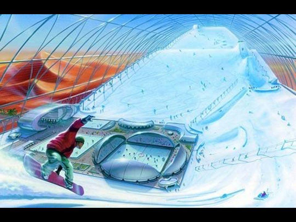 Bereits offen ist die grösste geschlossene Ski-Halle der Welt. Das Bild ist eine Planungs-Skizze für eine zweite noch zu bauende Halle.